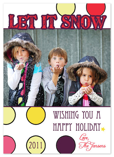 holiday photo cards - Polka Dot Wishes by Scriptiva Paper