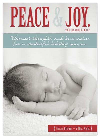 holiday photo cards - Peace & Joy Holiday Baby Arrival by Amanda Pravettone