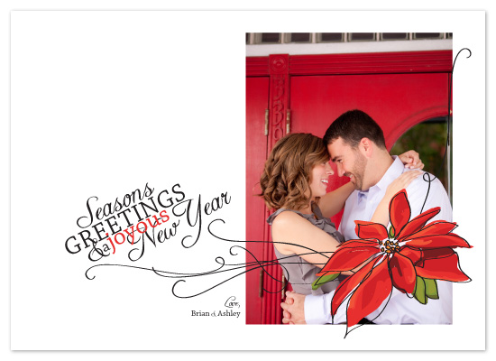 holiday photo cards - PoinsettiaGreetings by Bloom Art and Design