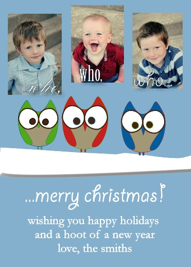 holiday photo cards - owl i want for christmas by Dandelion Dream Designs
