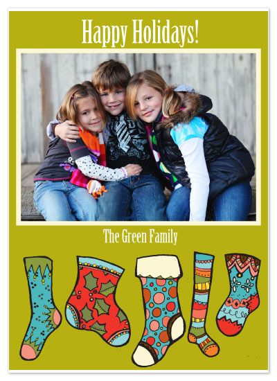 holiday photo cards - Hip Stockings by Rebecca Green