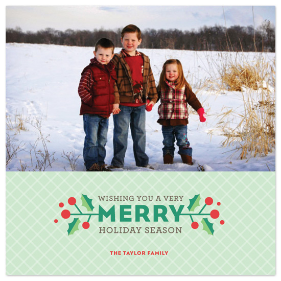 holiday photo cards - Hip Holly Holiday Card by Tracy White Taylor