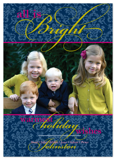 holiday photo cards - All is Bright Damask Christmas by Ambabee