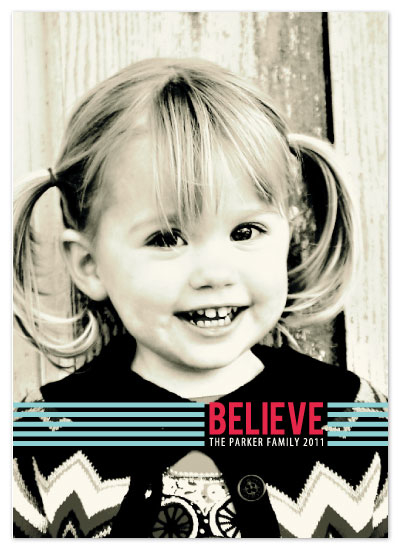 holiday photo cards - believe stripes by INKandIRON