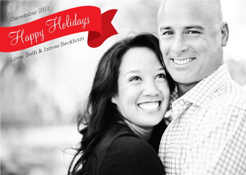 holiday photo cards - Happy Holidays Ribbon by Liddabits