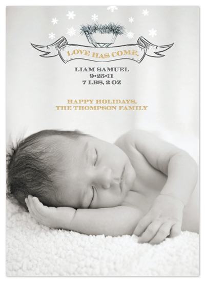 holiday photo cards - Love Has Come Birth Announcement by Courtney Thompson