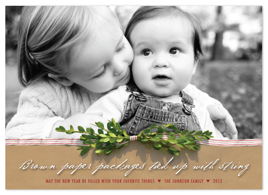 holiday photo cards - brown paper packages by Ellie B