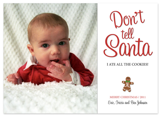 holiday photo cards - Don't Tell Santa by Ellie B