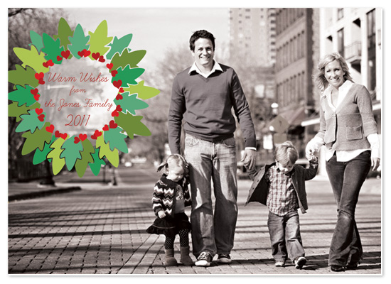 holiday photo cards - Holly Heart Wishes by Jeannene Langford