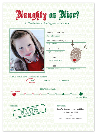 holiday photo cards - Naughty/Nice Evaluation by Jacks Master
