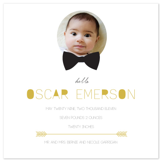 birth announcements - black tie hello by Potluck Design