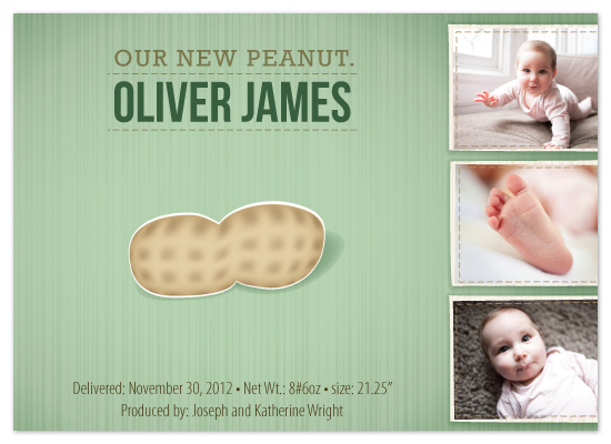 birth announcements - Our New Peanut by Jodi Baglien Sparkes