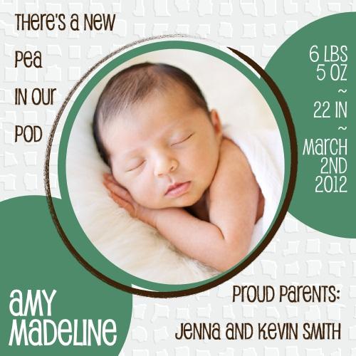 birth announcements - New Pea in our Pod by Dandelion Dream Designs