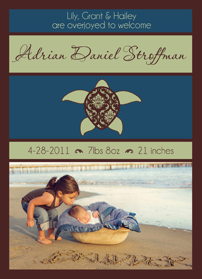 birth announcements - Treasured Turtle by Gretchen Jahn Bertram