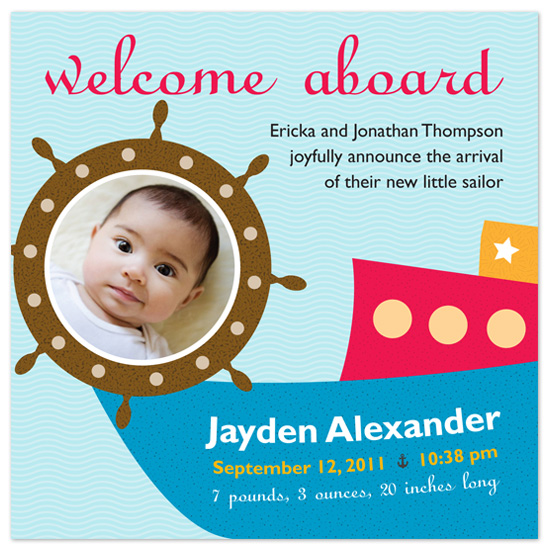 birth announcements - Welcome Aboard by Marcia Copeland