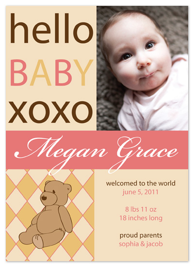 birth announcements - Bear Hugs by Sam F.