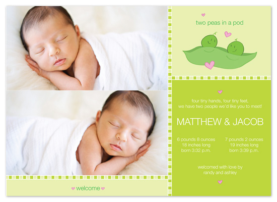 birth announcements - Peas In A Pod by Sam F.