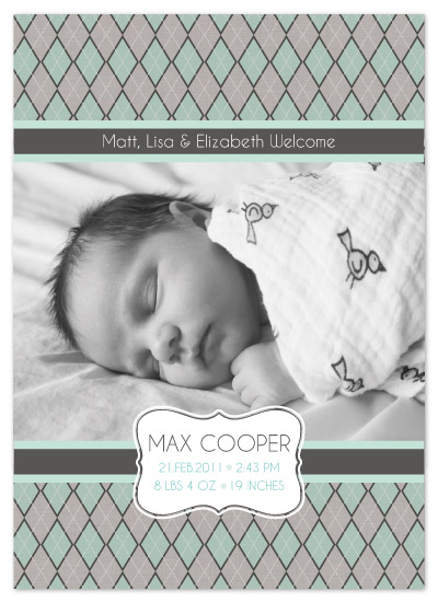 birth announcements - Argyle Boy by Edub Graphic Design