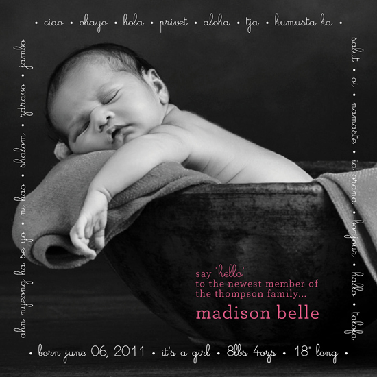 birth announcements - many hellos by Christina N Kinoshita