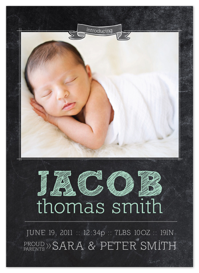 birth announcements - Chalkboard Baby Birth Announcement by east and twelve