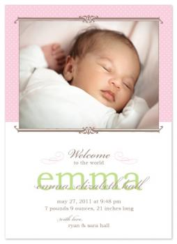 Classic Pink Dots Birth Announcement