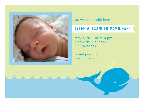 birth announcements - Whale Baby Boy Birth Announcement by Liddabits