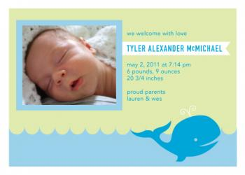 Whale Baby Boy Birth Announcement