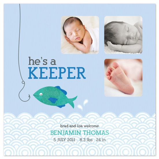 birth announcements - He's a Keeper by Edub Graphic Design
