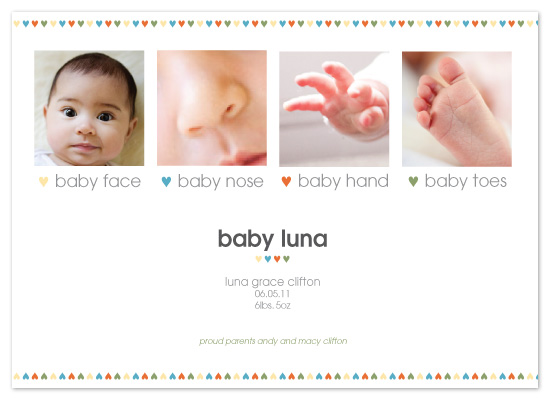 birth announcements - baby nose, baby toes by toast events + design