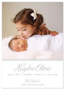 Simple Pastel Stripes Birth Announcement