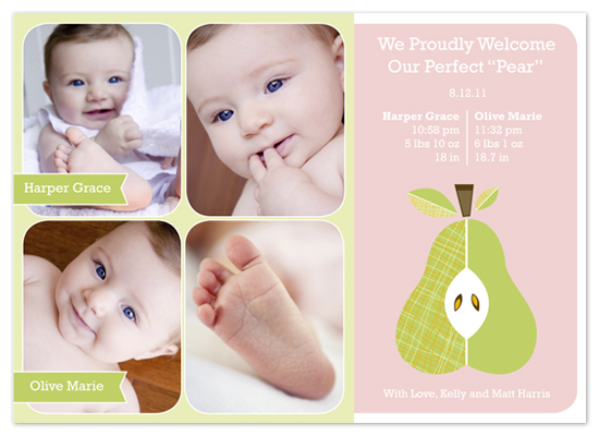 birth announcements - Perfect Pear Twin Birth Announcement by hatched prints