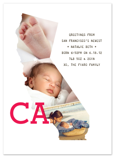 birth announcements - greetings from CA, baby! by campbell and co.