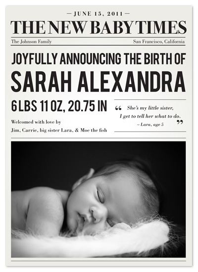 birth announcements - Read All About It by victoria