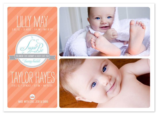 birth announcements - Sugar Pie Hunny Bunch Twins by Lara Henning