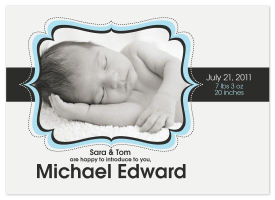 birth announcements - Sepia Blue Flourish by KtRazz