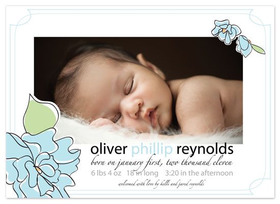 birth announcements - Blue Flowers For Baby by Kelli Despain