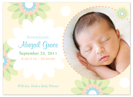 birth announcements - Baby Blossom by Marcia Copeland