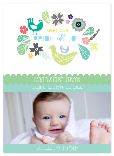 birth announcements - growing our nest by tin cup design