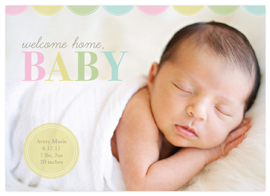 birth announcements - Welcome Home, Baby by arbor corner studio