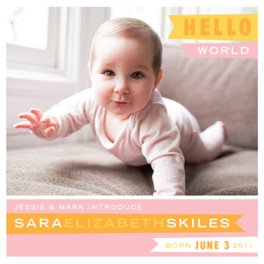 birth announcements - HELLO WORLD square birth announcement by Liddabits
