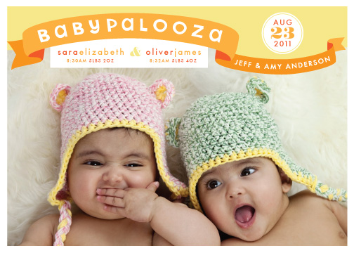birth announcements - BABYPALOOZA Twin Boy and Girl by Liddabits