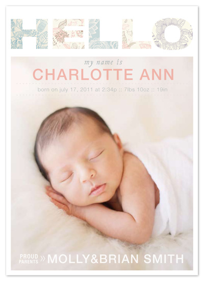 birth announcements - Hello by east and twelve