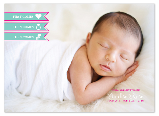 birth announcements - Modern First Comes Love by Edub Graphic Design