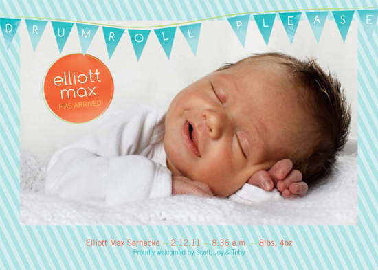 birth announcements - Drumroll Please Birth Announcement by Tea and Punch