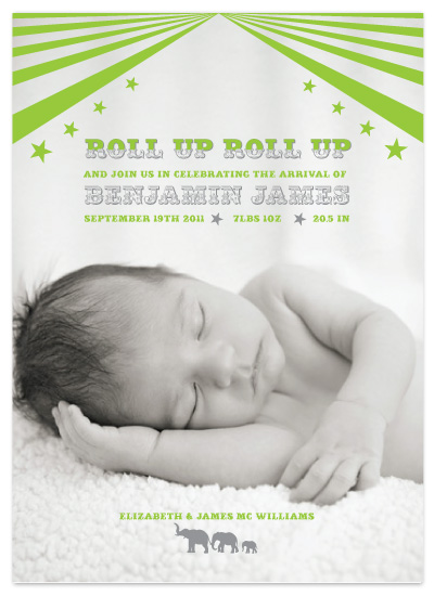 birth announcements - Roll Up Roll Up by Feather and Ink