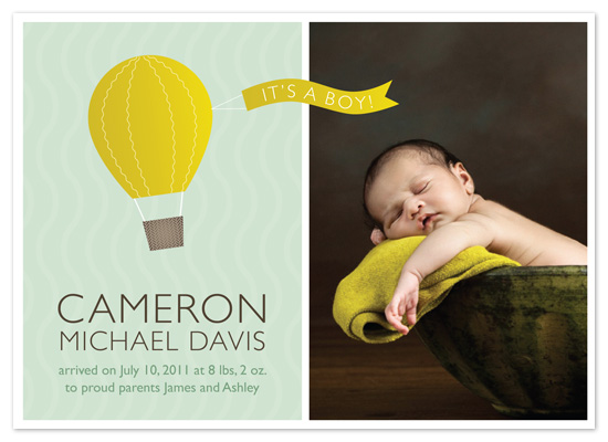 birth announcements - Up, Up, and Away! by Holly Whitcomb