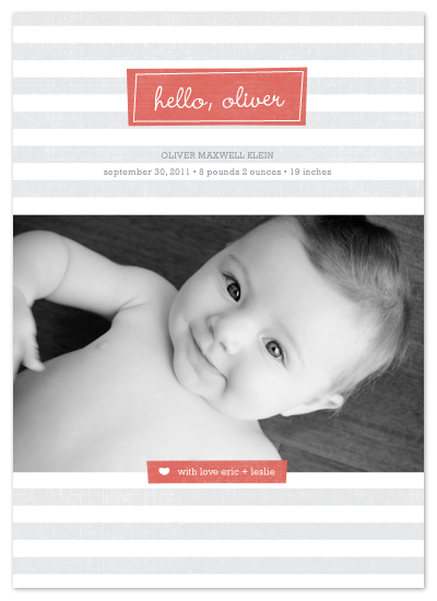 birth announcements - Hello, Oliver by Amy Sheridan