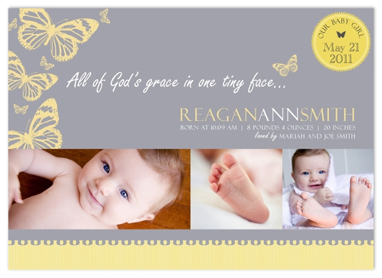 birth announcements - Butterfly Kisses by The Picture Portal