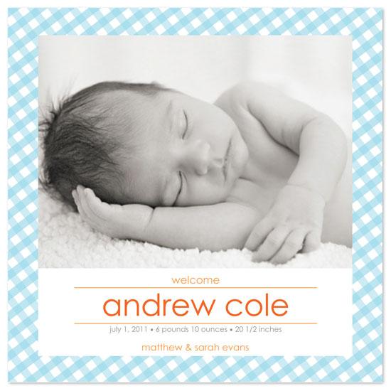 birth announcements - baby gingham plaid by Julie Rasmussen