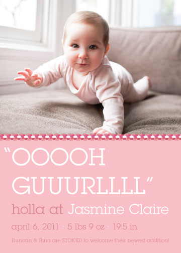 birth announcements - oooh gurl by victoria